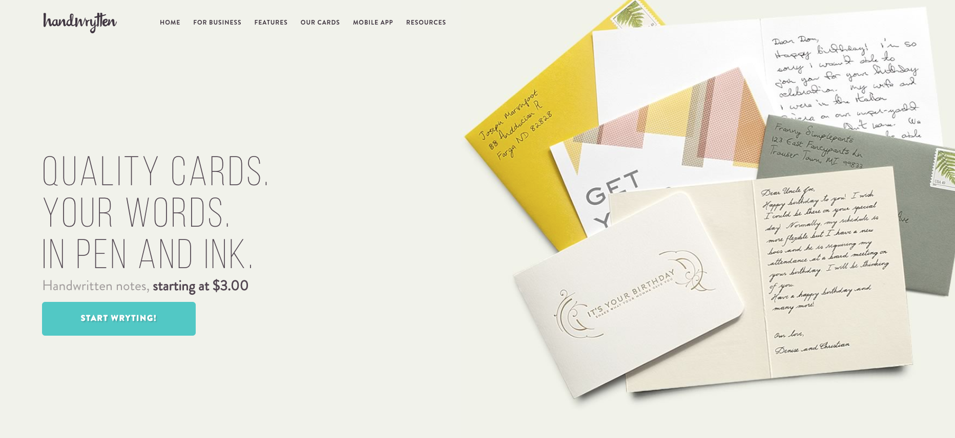 Handwrytten - Handwritten Greeting Card Service