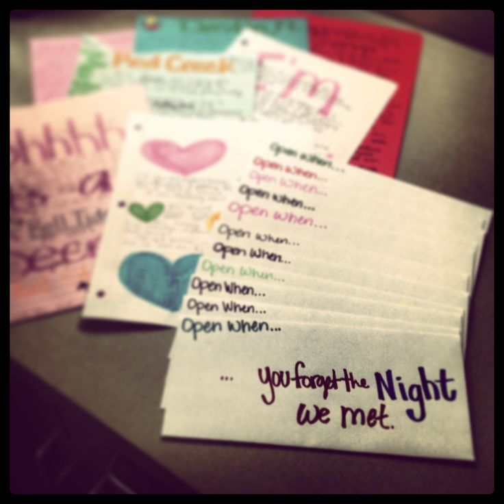 "Heather Draper: """"Open When"" letters I made for my darlin'. I can do this when either of us leave for long periods of time"""