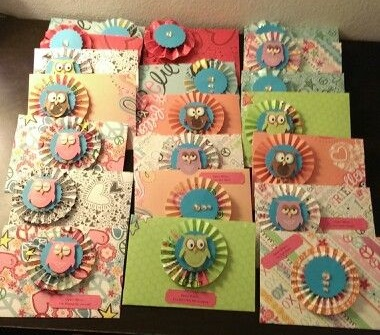 "Telanna: ""I handmade all these envelopes & cards for my daughter who moved into her dorm at UF. She loves owls & I loved making them for her."""