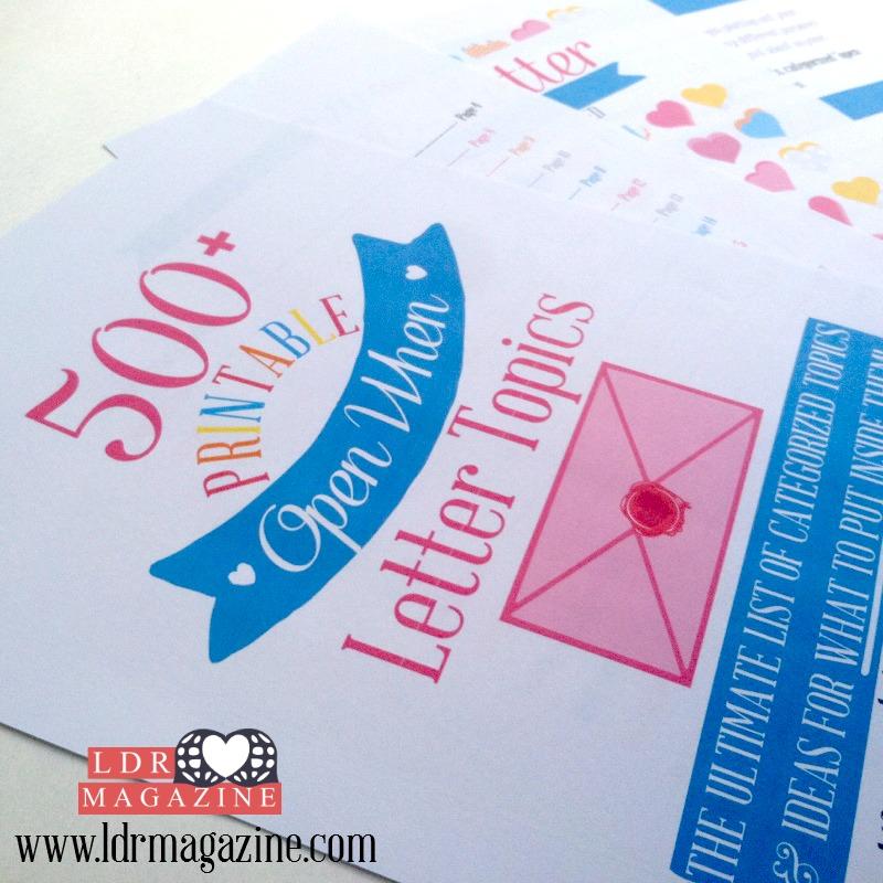 500 + Open When Letter Topics - LDR Magazine